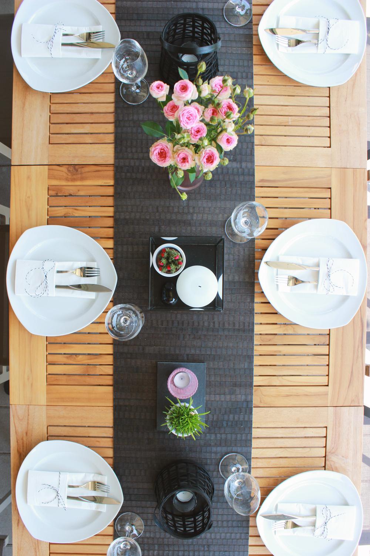 Tischdekoration-Schwarz-Weiß