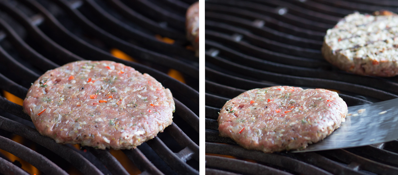 Selbst gemachte Burger Patties grillen