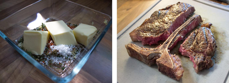 T-Bone Steak und Kräuterbutter