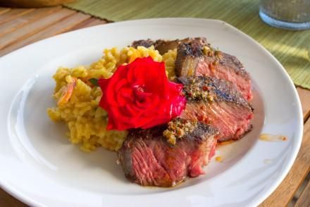 T-Bone Steak mit Kürbisrisotto